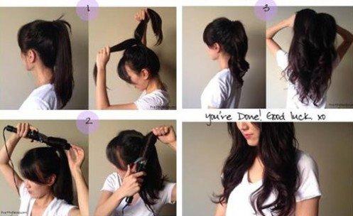 coiffure facile cheveux longs boucles express