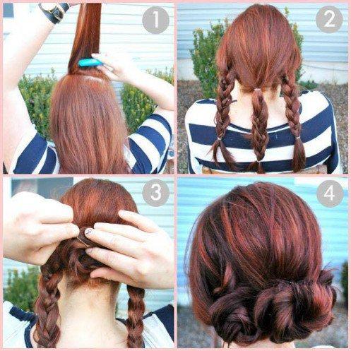 coiffure facile cheveux longs chignon tressé
