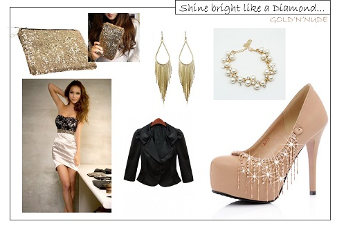 NUDE AND BLACKsansprix - TOTAL LOOK DE FÊTES « GOLD'n'NUDE »