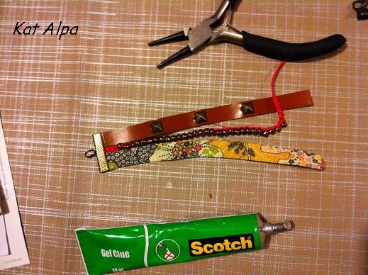 bracelet 3 - Bracelet manchette cloutée et liberty fait main
