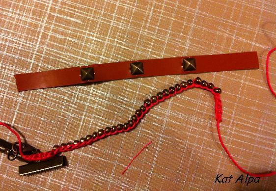 bracelet 6 - Bracelet manchette cloutée et liberty fait main
