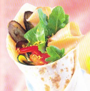 Rouleaux aux légumes rôtis & au saumon fumé