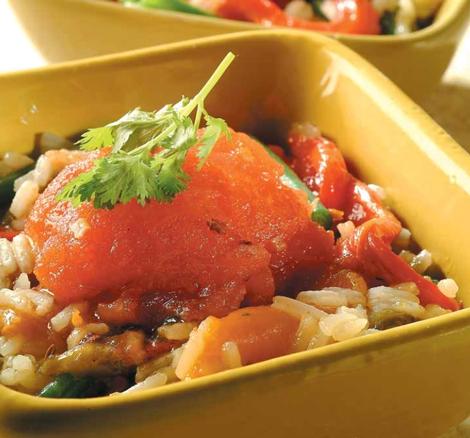 salade orientale poivron riz - Salade orientale poivron riz et anchois