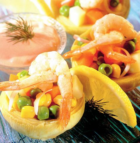 coeurs artichauts crevettes - Cœurs d'artichauts printaniers aux crevettes