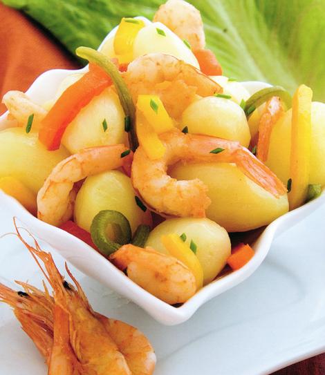 pdt crevettes poivrons - Petites pommes de terre aux crevettes et aux poivrons
