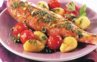 Rougets aux tomates cerise et pommes de terre