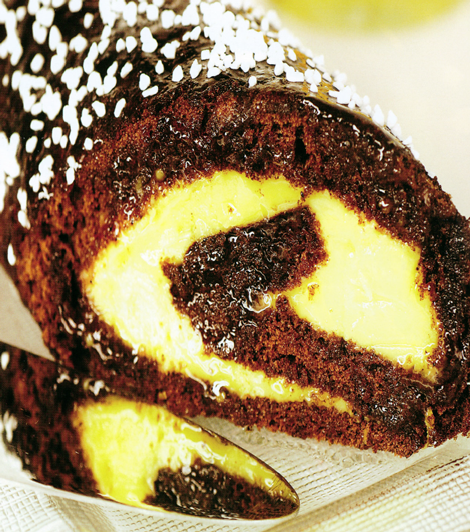roule chocolat creme citron - Roulé au chocolat crème au citron