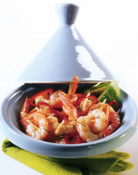 tajine crevettes ail - Tajine de crevettes à l'ail