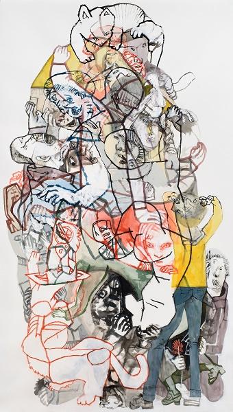 Les architectes de la parole 1 2016 Sergio Moscona encre  et acrylique sur papier maroufle sur toile 198 x 115 cm 5dd56 1 - Sergio Moscona à la Galerie Claire Corcia