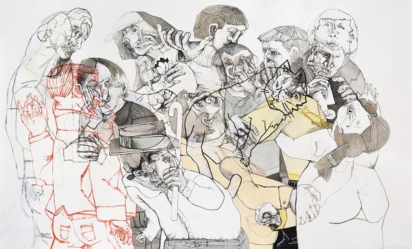 images Culture A los bastonazos 2016 Sergio Moscona acrylique sur papier  maroufle sur toile 115 x 198 cm ebce3 1 - Sergio Moscona à la Galerie Claire Corcia