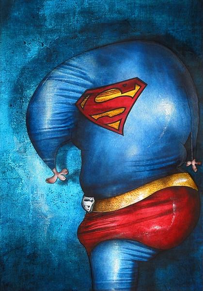 tableau peintre contemporain Superman   Copie b156f - Jérémie Baldocchi nous ouvre les portes de son atelier ...
