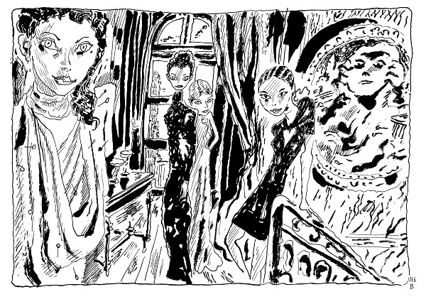 5. Quatre modeles en Schiaparelli c Joann Sfar 2016   Copie 4b0cb - Joann Sfar - Salvador Dali à l'Espace Dali
