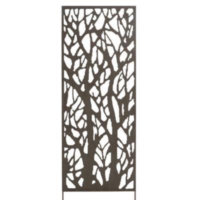 Treillage Décoratif Métal Arbre - Gris marron