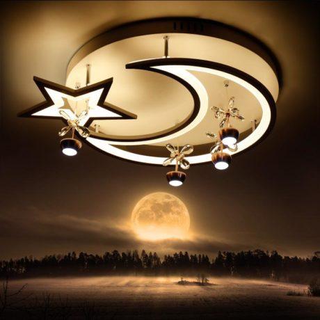 Plafonnier LED lune étoile