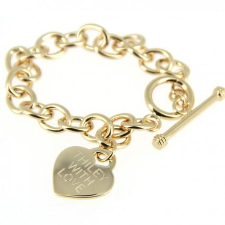 Bracelet plaqué or fermoir cabillaud avec médaille