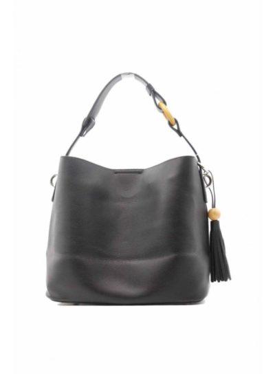 sac simili cuir noir pompon et boucle bambou