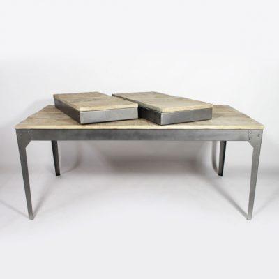 Table bois et métal avec allonges