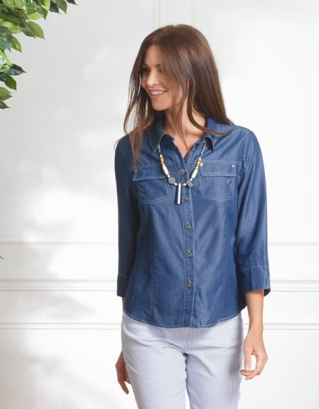 chemisier blue jean Christine Laure