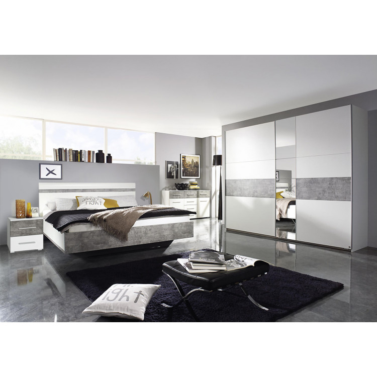 Chambre adulte contemporaine blanc gris béton Kigali