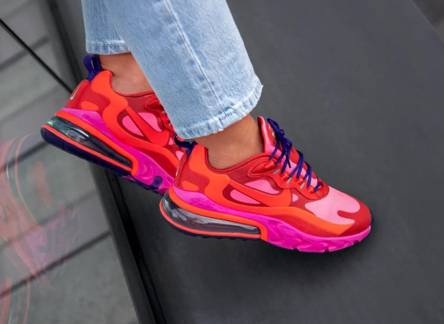 Nike Wmns Air Max 270 React Mystic Red Bright Crimson - Sneakers : En 2020, la tendance est à l'extravagance !
