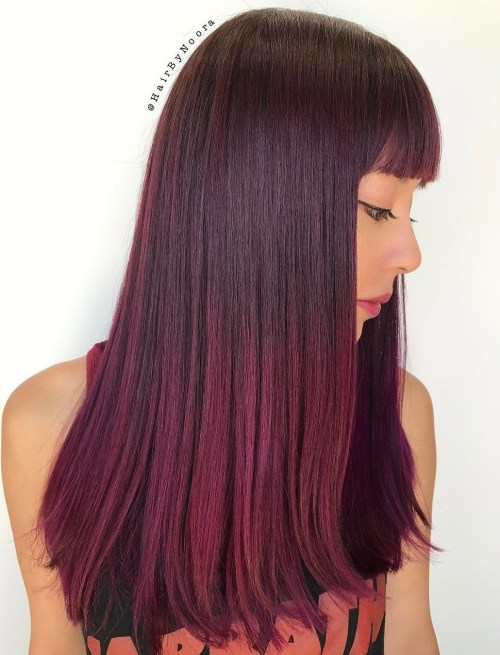 Long Burgundy Ombre Hair With Bangs