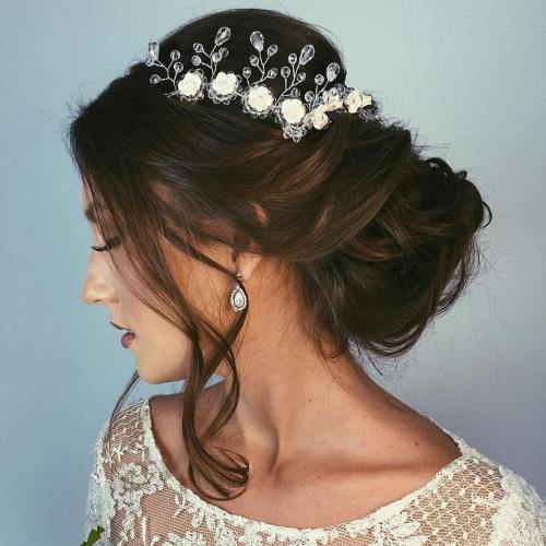 Low Wedding Updo With A Brown