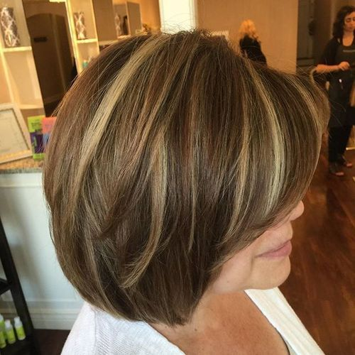 brown bob with blonde balayage highlights