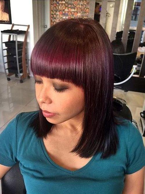 long burgundy bob with blunt bangs