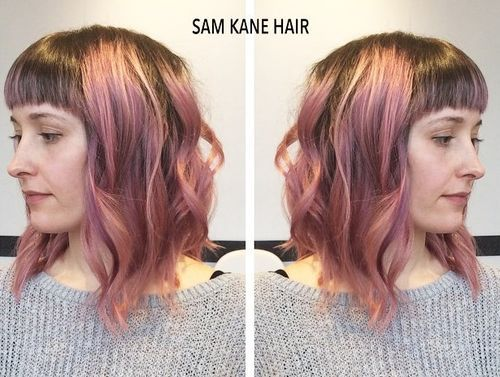 brown hair with pastel pink highlights