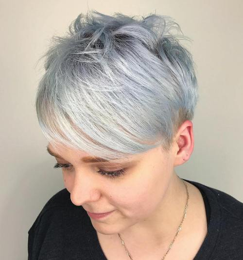 Choppy Silver Pixie With Bangs