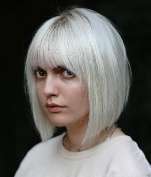 Silver Bob With Bangs