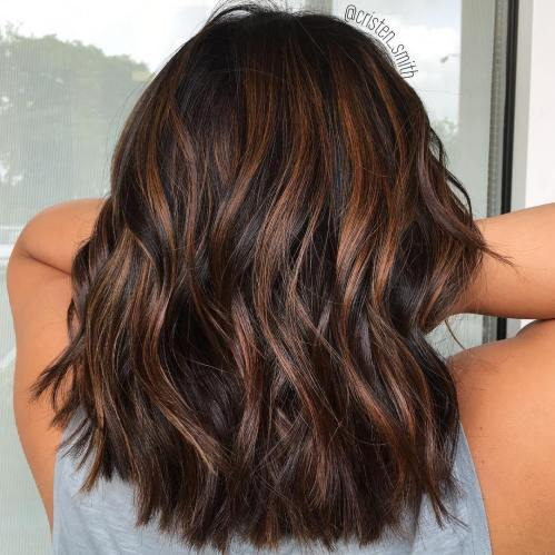 Dark Hair With Copper Highlights