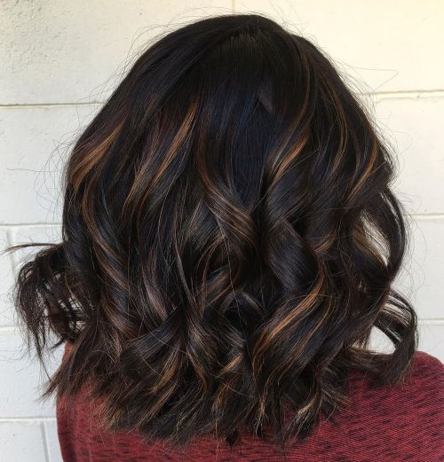 Black Hair With Brown And Blonde Balayage