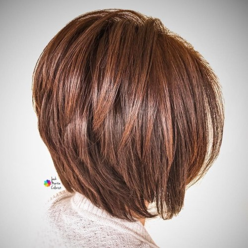 Inverted Layered Chestnut Brown Bob