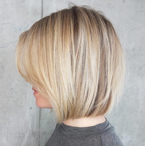 Medium Bronde Bob With Bangs