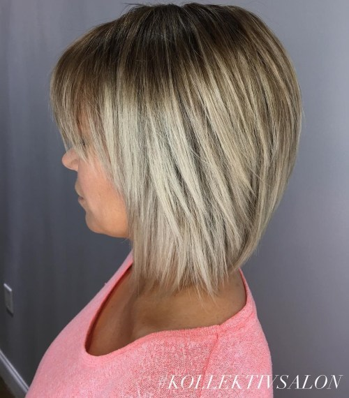 Razored Bronde Bob With Bangs