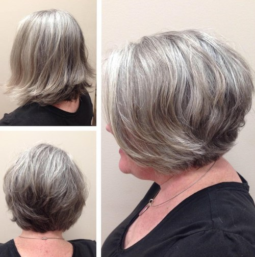 Short Youthful Hairstyle For Salt And Pepper Hair