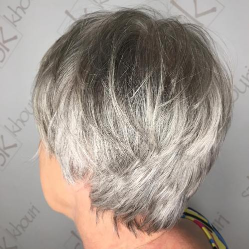 Tousled Layered Gray Pixie For Older Women