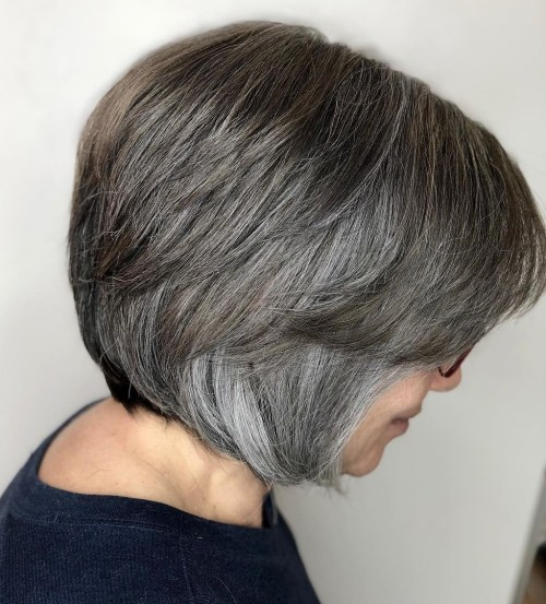 Short Gray Hair Cut With Brown Lowlights