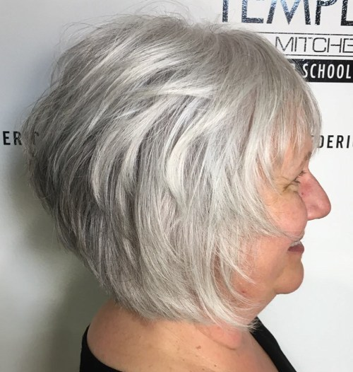 Short Feathered Natural Gray Bob Hairstyle