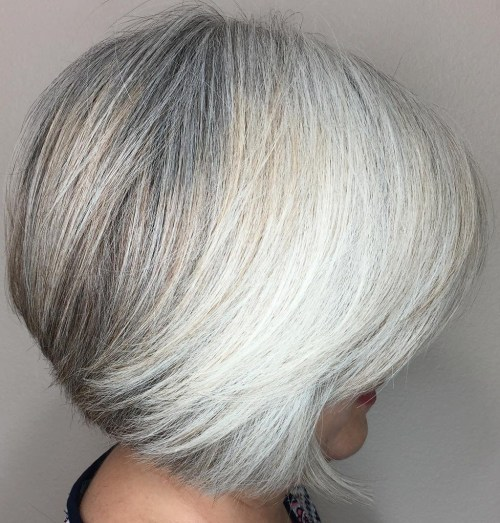 Short Salt And Pepper And White Bob