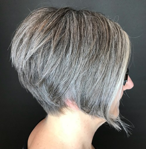 Short Salt And Pepper Hair With A Metallic Sheen
