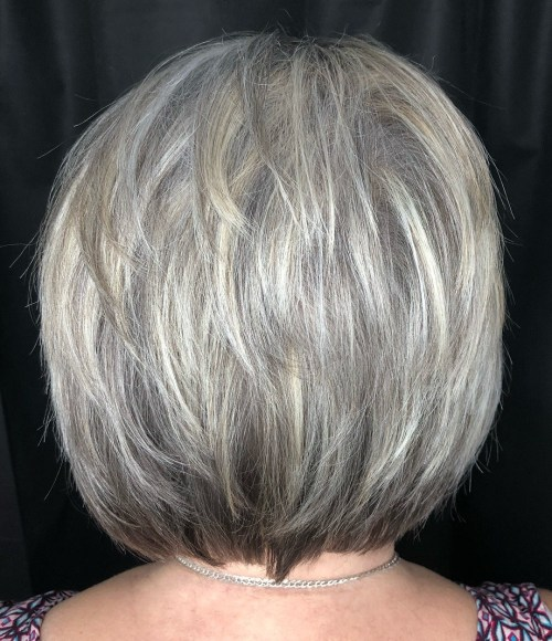 Nape-Length Feathered Hairstyle For Gray Hair