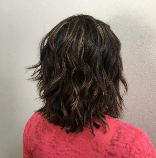 Shoulder Length Brown Shag with Highlights