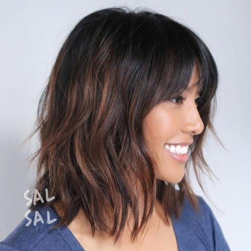 Shaggy Brunette Bob with Highlights