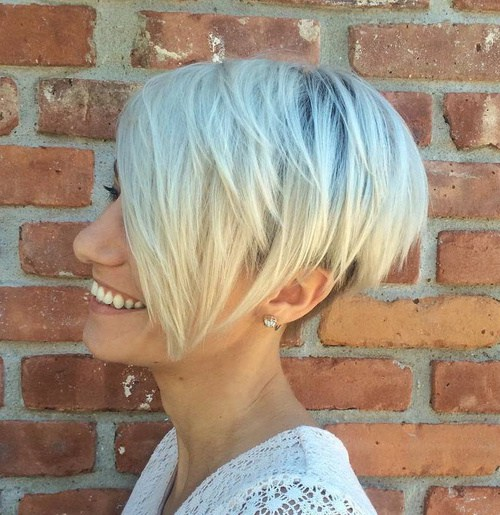 Layered Blonde Pixie Bob With Long Bangs