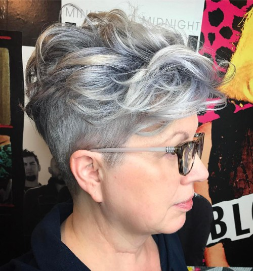 Over Short Curly Undercut Hairstyle