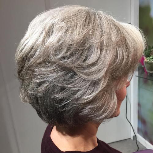 Short-To-Medium Layered Gray Haircut