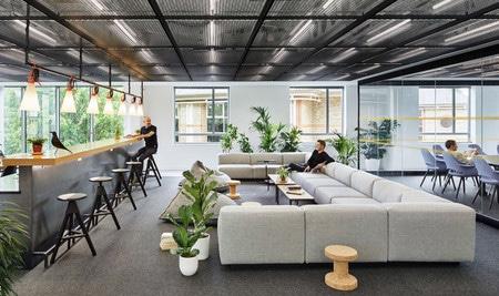 Quatre conceptions de grands bureaux commerciaux, qui montrent que les tapis sont revenus