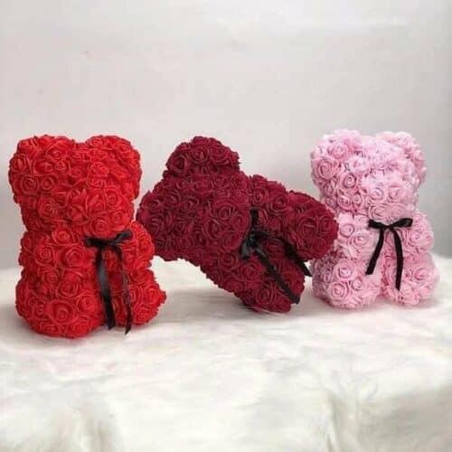 ourson en roses eternelle 500x500 - Un nounours en roses comme bouquet fleur en cadeau à Saint-Valentin